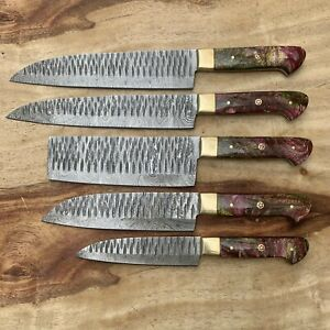 UD KNIVES HANDMADE DAMASCUS STEEL CHEF KNIFE KITCHEN SET RAISIN HANDLE B22-1512