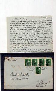 ALBANIA 1939 Cover To France +Letter (ZA 308