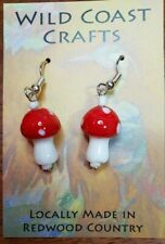 Red Lamp Glass Mushroom Earrings with surgical steel wire earrings