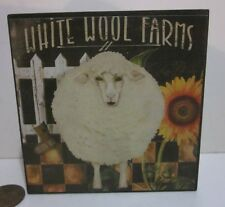 "Sheep Lamb Small Wall Box ""White Wool Farms"" Sunflower Picket, Blossom Bucket"