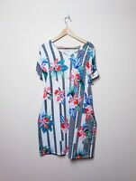 Rockmans BNWT $69 Size M Medium Bright floral Tropical Split Short Sleeve Dress