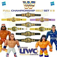 WWF WWE Retro Wrestling Belt Set x 8 for Hasbro / Mattel / Jakks Figures