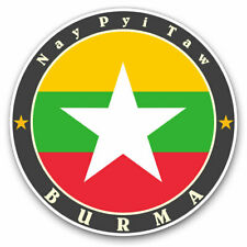 2 x Vinyl Stickers 25cm - Burma Nay Pyi Taw Burmese Flag  Cool Gift #5635