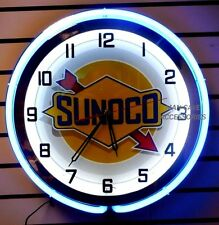 "18"" SUNOCO Gasoline Motor Oil Gas Station Sign Double Neon Clock"