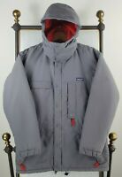 VTG PATAGONIA Size Medium Mens Gray Hooded Parka Coat Poly Insulated 90s