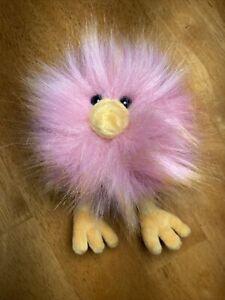 "JELLYCAT LONDON Crazy Chick Plush Stuffed Puff Ball Bird Hair Pink Orange 5"""