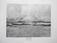MITCHAM Golf Course Print B/W Facsimile Of Original 1910 Harry Rountree