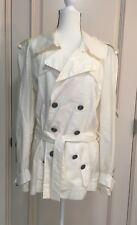 Chanel Perforated Short Cream Trench Coat Jacket CC Logo USA 10/EU 40 Vintage