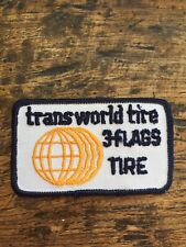 """Vtg Transworld Tire 3 Flags 3.25"""" Sew On Embroidered Patch Badge Tires Mechanic"""