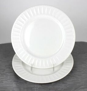 """Gibson White Elements Paloma Embossed 6"""" Bread Plates, Set of 2"""