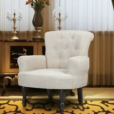 1 Pcs French Chair With Armrest Sand White