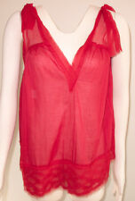 Philosophy Di Alberta Ferretti Red Silk Blouse, size: Italy 38 US, Made in Italy