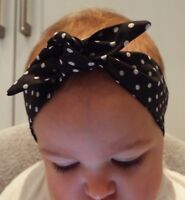 BLACK AND WHITE SPOTS HEADWRAP WRAP HEADBAND KNOT BOW BABY TODDLER GIRLS NEW