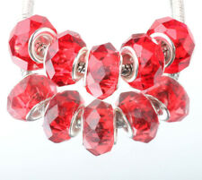5Pcs Red Fashion Silver Murano Crystal Facets Beads Fit European Charm Bracelet