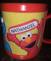 "Sesame Street Place Workshop Cup cookie Monster Big Bird Elmo ""NATHANIEL "" name"
