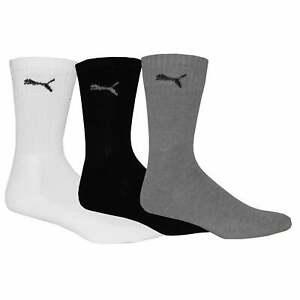 Puma 3-Pack Sports Crew Socks, Black/White/Grey