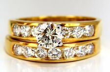 GIA Certified 2.01ct natural round diamond ring +band 18kt +