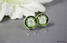 Glass Jewels Silber Ohrringe Ohrstecker Cabochon Hase Kaninchen Ostern #L048