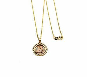 Real 14k Yellow Gold Singapore Chain/Necklace with 14k 15 Anos Pendant/Charm