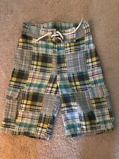 Gymboree Boys Madras Plaid Print Long Shorts Grey Blue Green Size 3 3T