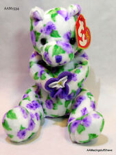 2003 Ty Beanie Baby Corsage Flowers White Green Purple Teddy Bear Plush Toy