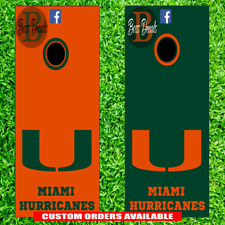 Miami Hurricanes Cornhole Board Decal Set of 6 Vinyl Decals 6 Piece Sticker Kit