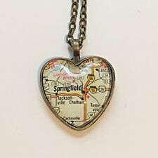Map Pendant Heart necklace Atlas Springfield Jacksonville Chathan Illinois Usa