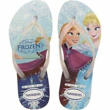 Havaianas Princess Brazil Frozen White Flip Flops Sandals Kids Girls All Size