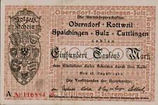 1923 German Weimar Republic Hyper Inflation 100.000 Mark Banknote Rottweil