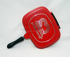 32cm DIE-CAST DOUBLE SIDED GRILL FRYING MAGIC PAN FOLDABLE FLIPPING GRILL RED