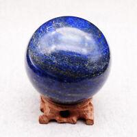 4cm Natural Blue Lapis Lazuli Quartz Crystal Sphere Ball Healing Gemstone +Stand