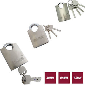 Iron Padlock Security Shackle Chrome Plated Hardened Steel 40-60mm with 4 Keys