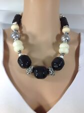 "bead necklace Chico""s Black/cream big"