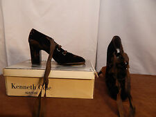 Women's Kenneth Cole NY Brown Suede Heels w/ Long Laces 7; Made in Spain