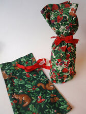 Hand Crafted Fabric Christmas Wine Gift Bags Holly Fox Deer Rabbit Strawberries