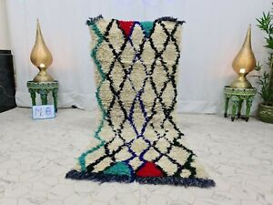 "Vintage Moroccan Handmade Carpet 2'7""x6'2"" Geometric Berber White Black Rug"