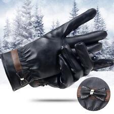Ladies Women Glove Wrist Soft Leather Winter Warm Screen Touch Butterfly Gloves