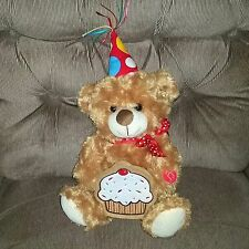 Gabi Toy HAPPY BIRTHDAY TEDDY BEAR Brown Plush 2015 Plays Song Cupcake Pocket