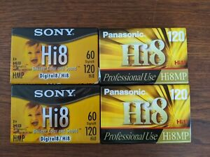 Two Sony Two panasonic Hi8 Camcorder 8mm Tape Cassettes 120 Minute