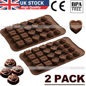 2 X Cake Jelly Cookies Soap Mold Chocolate Baking Mould Tray Ice Cube Decorating