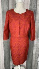 Hobbs Invitation Regis Jacquard Orange Pink Dress + Jacket Size 14 16 BNWT