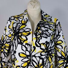 Laura Ashley Jacket Blazer Petite Sz S Floral White Black Yellow 3/4 Sleeve