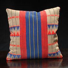 Red tan throw pillow Naga tribal textile, ethnic hand woven fabric 18 x 18 PIL11