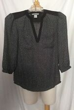 H & M V-neck  Blouse With Button Cuffs (size 2) 3/4 Sleeve Black And White
