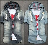 Men's Short Sleeve Jeans Shirt/T-Shirt Fashion Korean Slim Cotton Casual Hoody 2