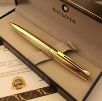 24k Gold Plated Shiny Sheaffer 300 Ballpoint Writing Pen Set Gift Boxed Ink 24ct