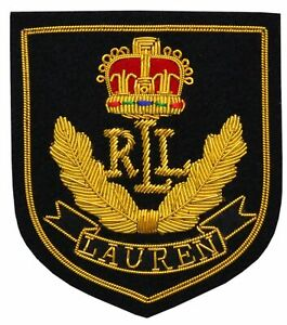 Ralph Lauren RLL Gold Bullion Wire Military Blazer Badge Hand Made Embroiderd
