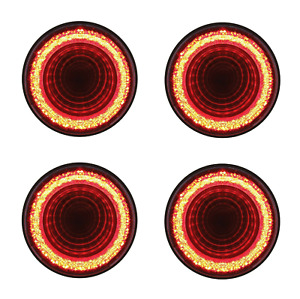 "(Set/4) Round 4"" LED ""MIRAGE"" Stop, Turn & Tail Lights - Red LED/Red Lens- S/T/T"