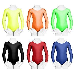 Girls Kids Uniform Leotard School Dance Gymnastics Ballet Long Sleeve Leotards