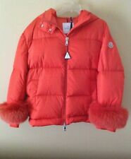 Moncler Effraie Hooded-Fur Fox Orange Hoodie Removable Cuff Down Coat Jacket 3